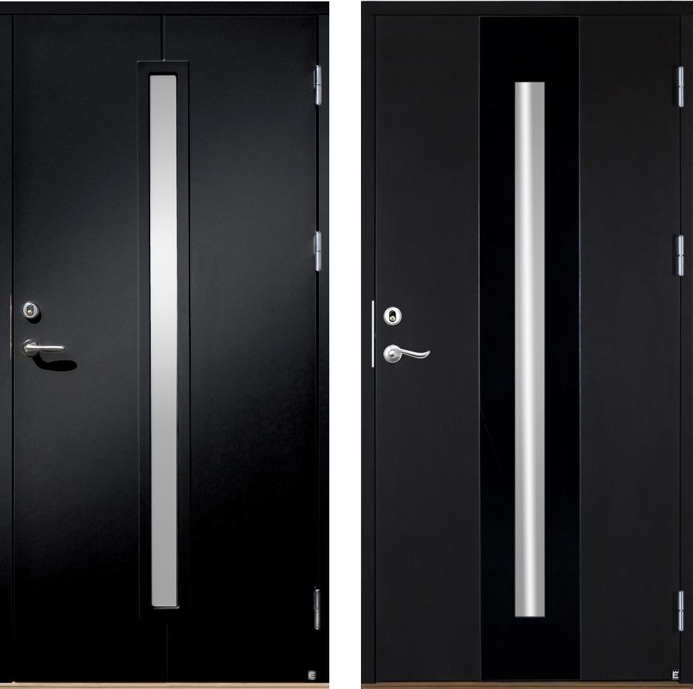 Svarta ytterdörrar modeller Koto 103 G13 och Koto Screen från Ekstrands